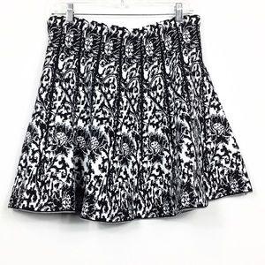 NWT Knit High Waisted Floral Skater Circle Skirt